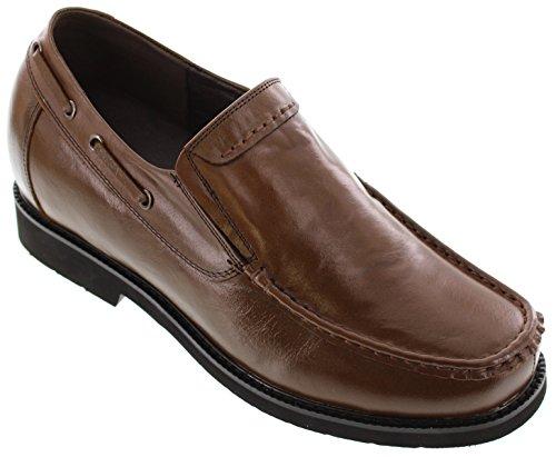calto–g7059–7,1cm Grande Taille–Hauteur Augmenter Chaussures ascenseur–Chaussures Casual en Cuir Marron