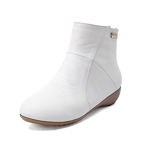 VogueZone009 Women's Solid Cow Leather Boots with Thread and Metal Ornament, White, 36 ()