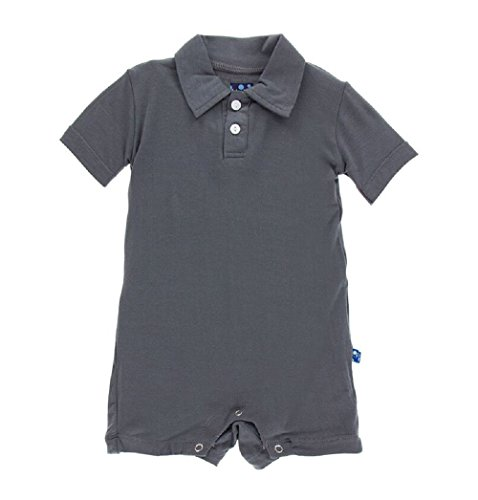 Kickee Pants Baby Boys' Solid Polo Romper Prd-kpbr601-St