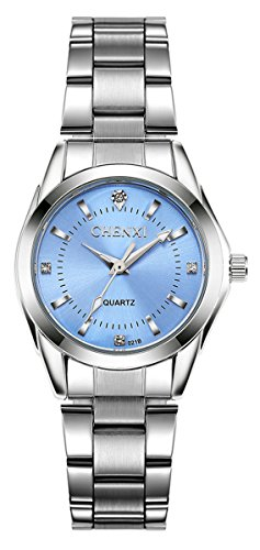 Japanese Quartz Watch Women Casual Fashion Waterproof Full Steel Swarovski Crystal Luminous Wrist Watch (Light Blue) Blue Luminous