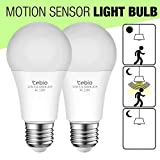 Tebio 12W Radar and Motion Smart LED Light Bulbs, Auto On/Off Radar Sensor LED Light Bulb, Dusk to Dawn Security Sensor Bulbs E26 Base, 1200lm, 3000K Warm White, Indoor Outdoor Front Door Lamp (2pcs)