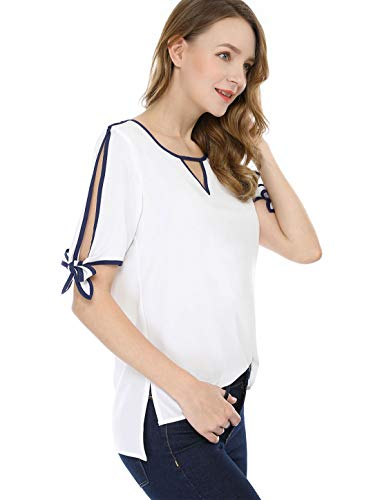 (Allegra K Women's Short Sleeve Choker V Cut-Out Contrast Color Bow Tie Cuffs Casual Blouse Top White S (US 6))