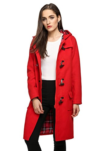 Finejo Women's Hoodie Fleece Jacket Duffle Style Toggle Wool Coat Pea Coat, Red, Medium