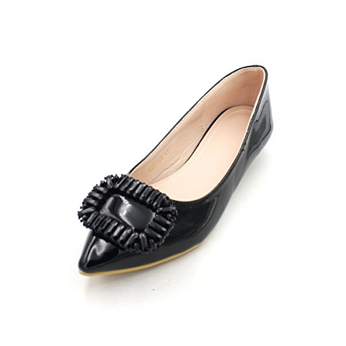Mother Eight Has And Shallow Pointed Thirty Shoes Lacquer In KPHY Skin Shoes A Shoes Heel Black Women'S Autumn Tip Low YpqgUwxZg