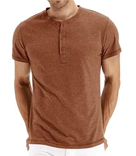 (Zaveleng Fashion Casual Front Placket Basic Long/Short Sleeve Henley T-Shirts (Orange,)