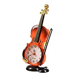 Table Clock, Fashion Vintage Violin Stand Clock Alarm Clock Home Decoration Desk Decor Battery Operated Brown