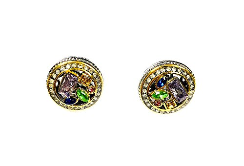 Two Tone Rhodium Plated CZ Stone Multi-Stone Post Earrings with Pave Border