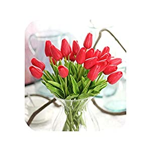 31Pcs/Lot Tulips Artificial Flowers PU Fake Flowers Real Touch Flowers for Wedding Decoration Home Party Decoration,C 45