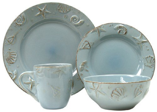Beach Themed Dinnerware (Thomson Pottery 16-pc. Cape Cod Set AQUA)