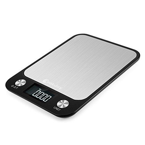 Báscula de cocina digital, COOKJOY Acero Inoxidable Balanza de Alimentos Multifuncional con pantalla LCD, Escala de...