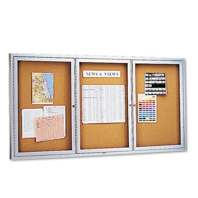 Quartet 2366 - Enclosed Bulletin Board, Natural Cork/Fiberboard, 72 x 36, Aluminum Frame