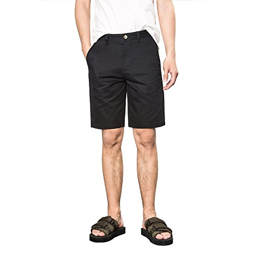 LOCALMODE Men's Casual Classic Fit Golf Chino Shorts Black 32 Best Golf Shorts