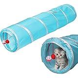 Four Piece 猫 トンネル おもちゃ 1.2m 超ロング ベッド ドーム テント 折り畳み 人気 猫じゃらし (ブルー)