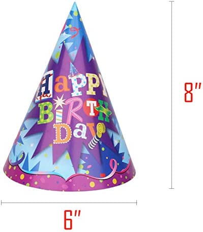 Beurio Happy Birthday Party Hats for Kids Adults, 12 pcs Blue