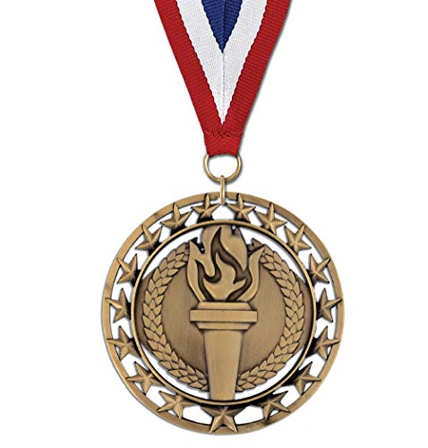 Hodges Badge Company Victory Torch Gold, Silver, or Bronze Medals with Red White and Blue Neck Ribbon- Made of Metal- Sold in Sets of 10 of Either Gold, Silver, or Bronze (Gold)