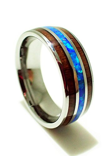Tungsten Carbide 8mm Hawaiian Koa Wood With Synthetic Blue Opal Inlay Comfort Fit Ring/ Wedding Band Size (Synthetic Blue Opal Inlay)