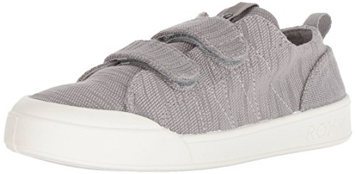 Roxy Women's Trevor Velcro Fashion Sneaker Shoe, Grey, 8.5 M US