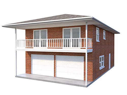 Two Car Garage Apartment Plans DIY 2 Bedroom Coach Carriage House Home Building ()
