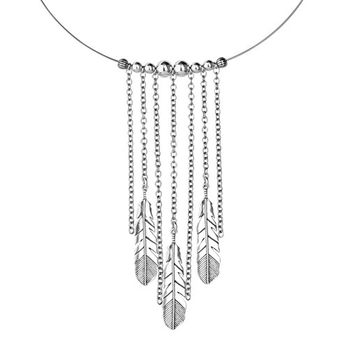 Southwestern Concho - American West Sterling Silver Chain Feather Choker Necklace
