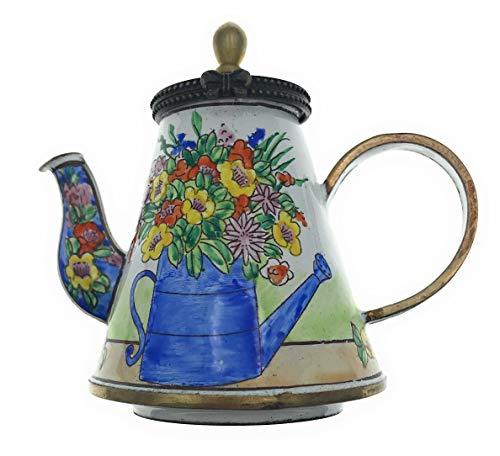 Kelvin Chen Enameled Miniature Tea Pot - Flowers in Watering Can ()