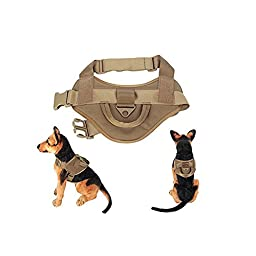 Yisibo Tactical Army Dog Adjustable Service Police Patrol Vest Training Molle Harness Cool Packs Vest Comfort Nylon for Pet Coyote Brown L