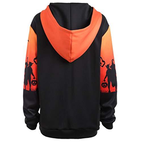 Maglione Size Cappotto a Giacca Donna Partito Sweatshirt Plus Pullover con Felpa Pipistrello Arancione con Cappuccio da Longra Lunga Casuale Manica Tasca Girocollo a Stampa Felpa Halloween HUw8qx1FtO