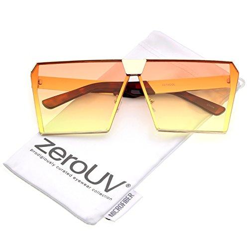 zeroUV - Modern Oversize Semi Rimless Gradient Color Flat Lens Square Sunglasses 69mm (Gold / Orange - Sunglasses Tinted Orange
