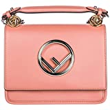 Fendi Women's Kan I Logo Small Leather Shoulder Bag Pink