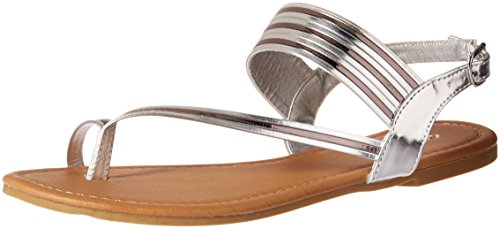 Qupid Women's Flat Sandal with Toe Ring, Silver, 8 M US