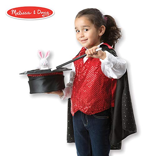 Kids Magic Hat - Melissa & Doug Magician Role Play Costume Set (Pretend Play, Materials, Machine Washable)