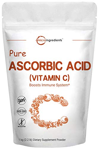Pure Ascorbic Acid Powder (Vitamin C Powder), 1 Kg (2.2 Pounds), Powerfully Boosts Immune System, Supports Cardiovascular Health and Balances Blood Pressure. Non-GMO and Vegan Friendly.