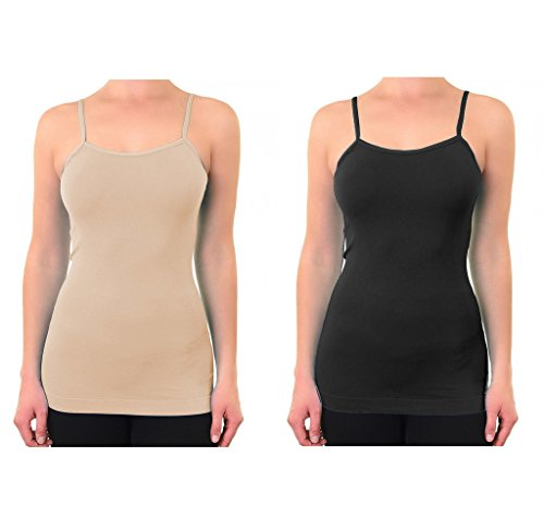 Popular Women's Plus Size Soft Seamless Shaping Camisole With Adjustable Straps - 2 Pack