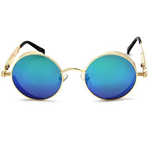 reflectante mujeres azul polarizadas sol verde Espejo efecto para amztm pequeño hombres redondo gafas lente amp; y de las SOFnUqanXw