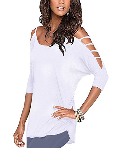 OUGES Women's Three-Quarter Sleeves Hollowed Out Shoulder Casual Shirt Tops(White,S)