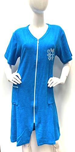 Brighton Robes Women's Turkish Terry Cotton Zipper Front Short Sleeve Two Pocket Robe Sleepwear Beach Dress (XXL, Ocean ()