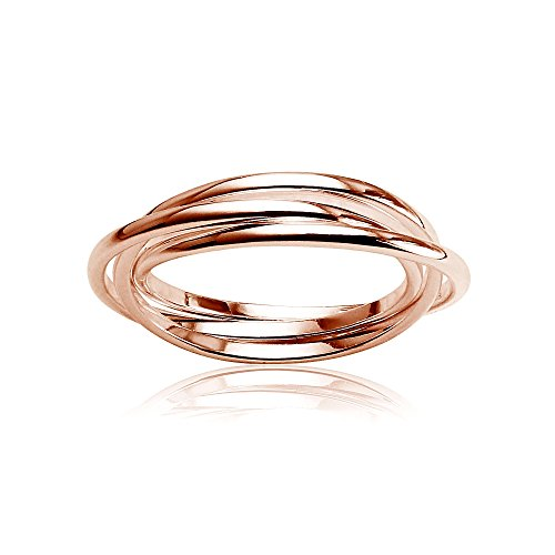 Rose Gold Flashed Sterling Silver Polished Triple Interlocking Rolling Thin Band Ring, Size 9