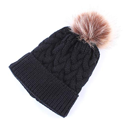 990131525df Inkach Baby Knitted Hats Winter Keep Warm Caps Crochet Beanie Hat with Pom  Poms (Black