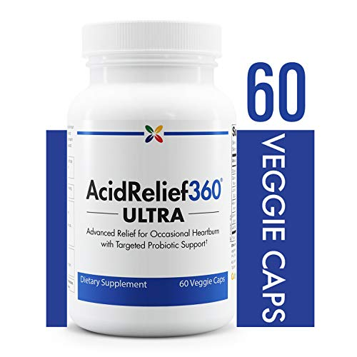 Stop Aging Now - AcidRelief360 ULTRA with GutGard and Probiotics - Advanced Relief for Occasional Heartburn with Targeted Probiotic Support - 60 Veggie Caps