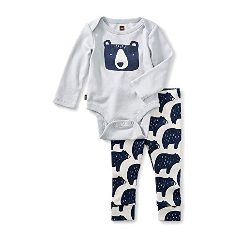 ce Bodysuit Baby Outfit, Sterling, Bear Design with Gray Top and White Pants (Newborn) ()