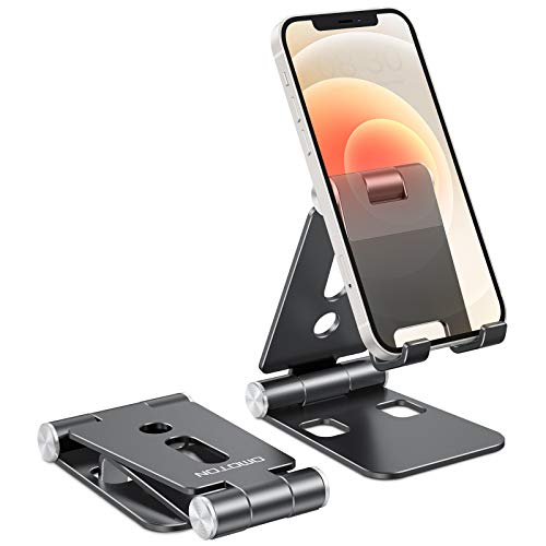 OMOTON Phone Stand Foldable, Phone Holder, Aluminum Portable Phone Dock Cradle Stand for Travel, Applies to iPhone 12…