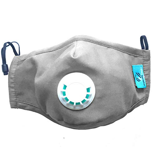 N95 Pollution Mask by Comsy | Military Grade PM2.5 Protection With 5 Filters for Gas Dust Pollen Bacteria Viruses Allergy Breathe Comfortable When Cycling Running Painting Traveling (Grey)