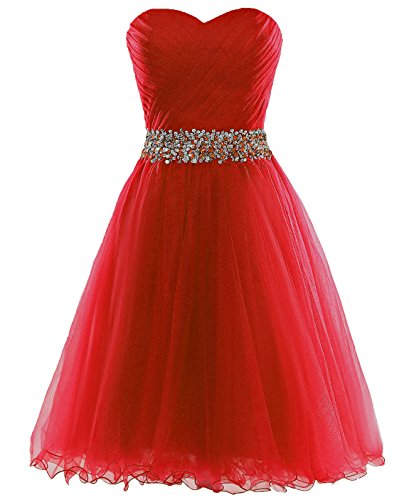 Robe Courte En Tulle Retour À La Maison Des Femmes Dys Robes De Bal Chérie Taille De Perles Rouges