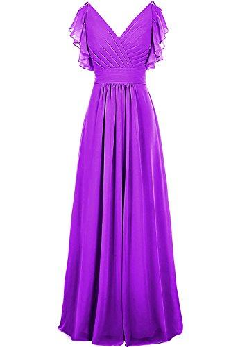 Dresstore Women's Ruched Chiffon Bridesmaid Dress V Neck Long Evening Dress Purple US 18Plus