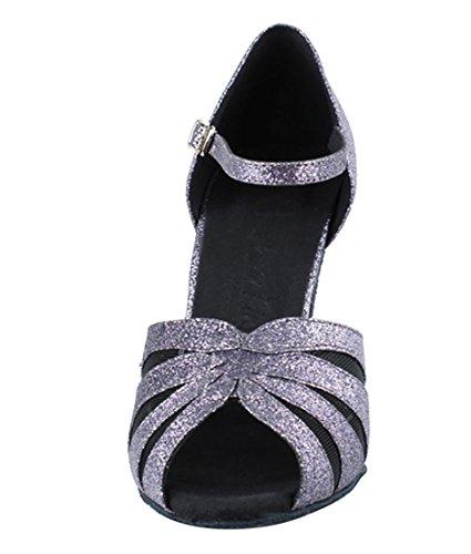 Zeer Fijne Ballroom Latin Tango Salsa Dansschoenen Voor Dames Sera3850 3-inch Hak + Opvouwbare Borstel Bundel Grijs Stardust-zwart Mesh