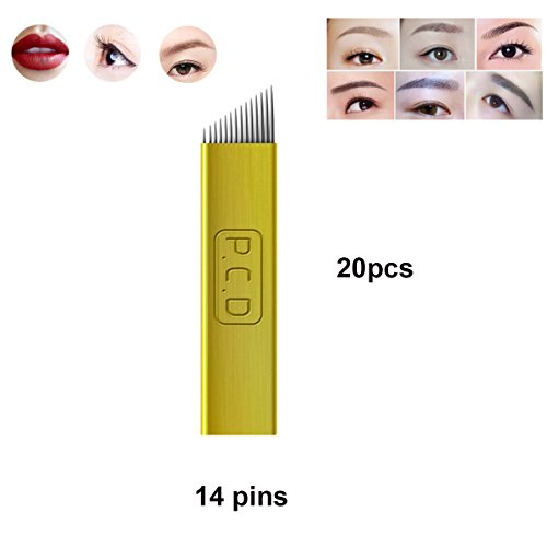 Guapa PCD Microblading Agujas para Eyebrow Eyeliner Lip Permanent Makeup Pure Metal Tattoo Needles 12 Pines 14 Pines Manual Shades (14 pins-20pcs): ...