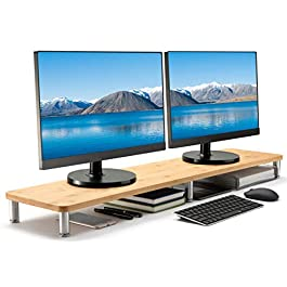 Husky Mounts Large Dual Monitor Stand Riser, Adjustable Legs, 39″ x 9.3″ x 3.75″ Max Height, Bamboo Top, Brushed Steel Legs