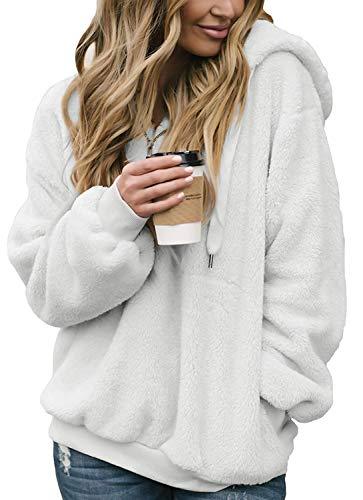 Jacket Zip Reversible 1/4 (ZESICA Women's Long Sleeve 1/4 Zip Fuzzy Fleece Pullover Casual Loose Sweatshirt Hooded with Pockets)