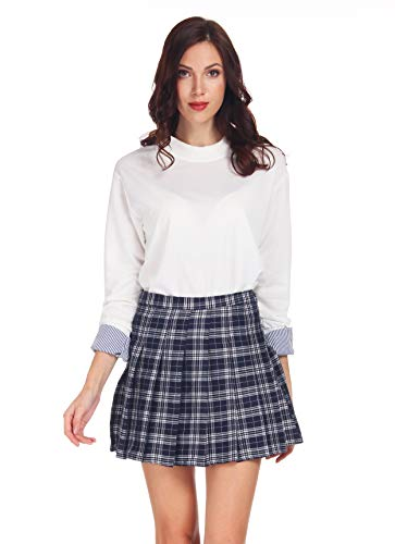 Clarisbelle Women High-Waisted Pleated Mini Skirts with Soft Shorts Underneath (S, Navy Blue Checks)