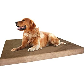 Dogbed4less XL Orthopedic Gel Cooling Memory Foam Dog Bed, Waterproof Liner and Extra External Pet Bed Cover, 47X29X4 Inch Fit 48X30 Crate