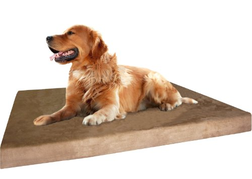 Dogbed4less XL Orthopedic Gel Cooling Memory Foam Dog Bed, Waterproof Liner and Extra External Pet Bed Cover, 47X29X4 Inch (Fit 48X30 Crate)